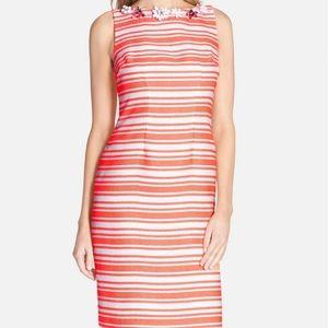 Chetta B Embellished Striped Sheath Colorful Dress